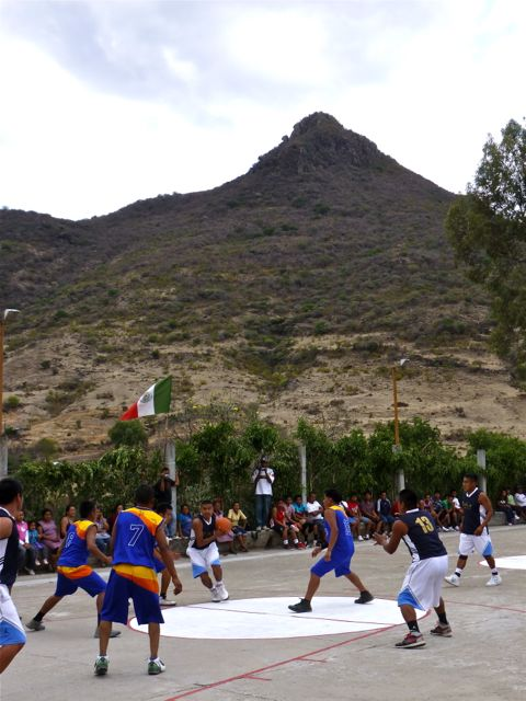Basketball game with mountain in background