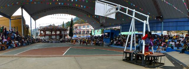 Partially covered basket ball court.