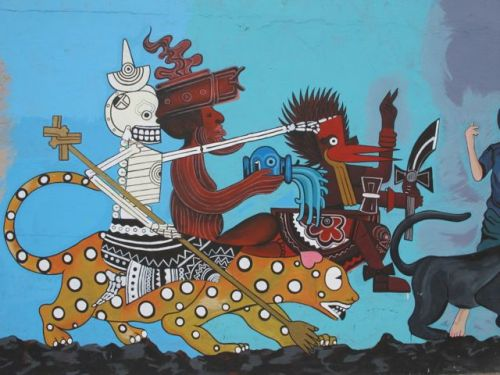 Part of a mural on Niños Heroes in Oaxaca city.