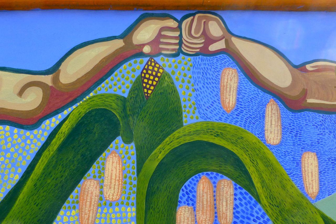 From a large mural on the wall outside the Comisión Nacional para el Desarrollo de los Pueblos Indígenas, Delegación Oaxaca