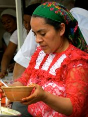 Woman serving food