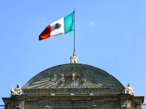 Mexican flag atop Cathedral