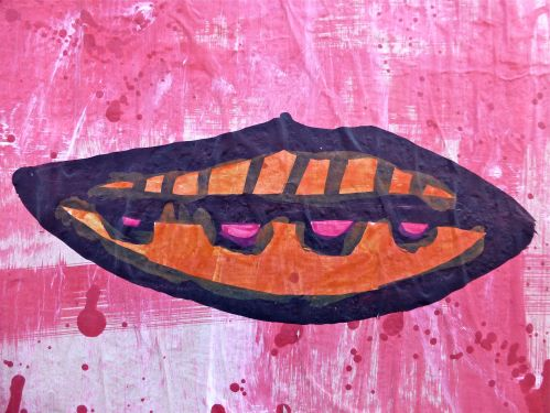 Street art:  lips painted on a wall