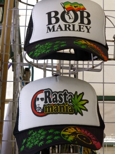 Caps with Bob Marley image & marijuana leaves