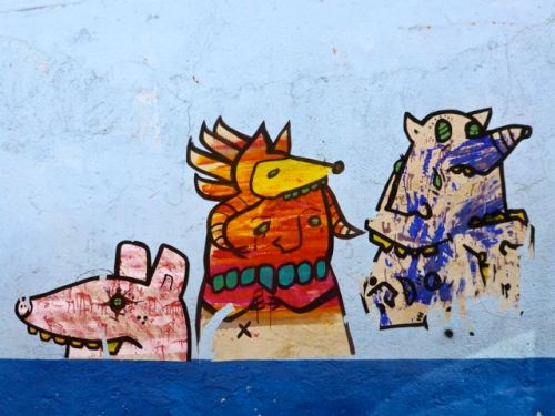 Creatures painted on wall