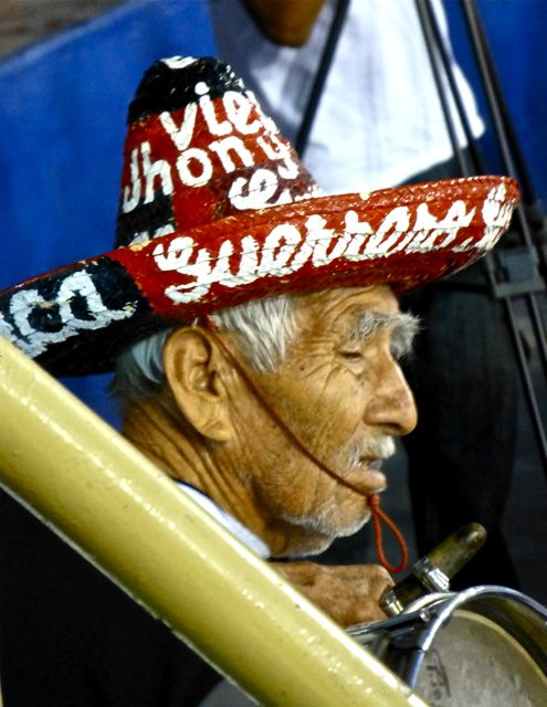 Man with sombrero and drum