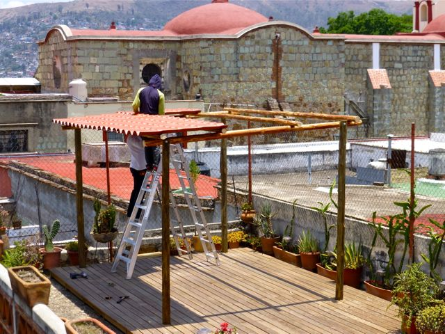 Shade structure under construction