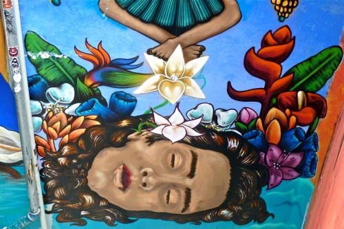 One of the murals in the pedestrian tunnel to the Guelaguetza auditorium.