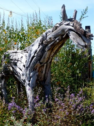 Scrap wood horse sculpture