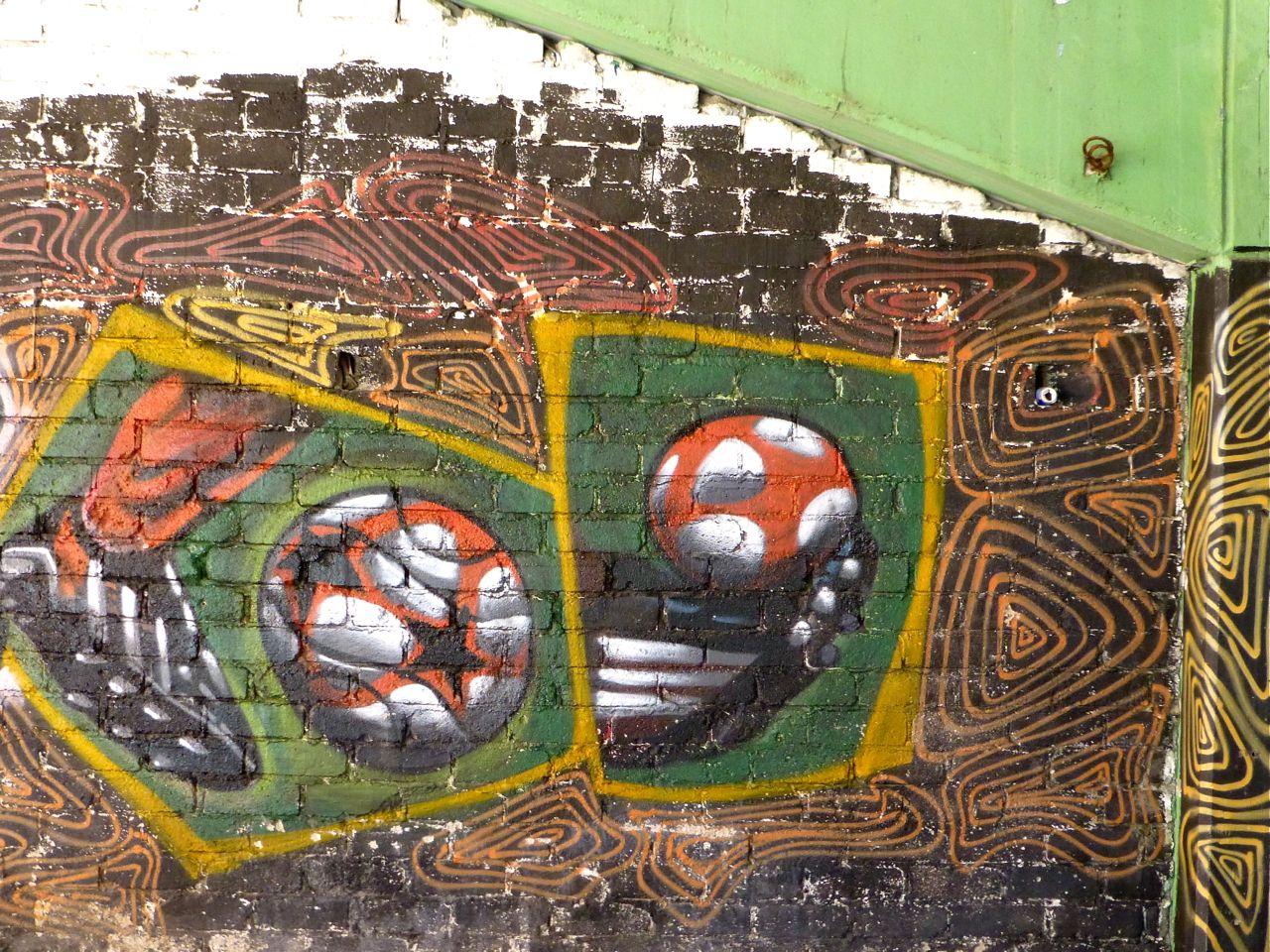 Mural under fútbol stadium in Oaxaca - Dec. 2012