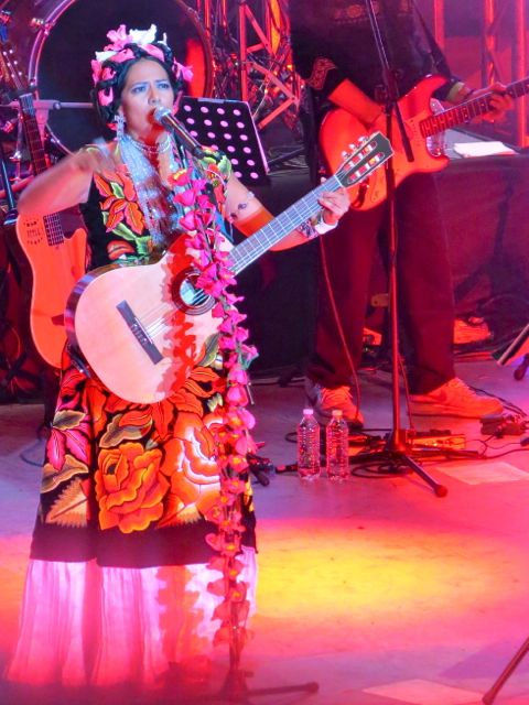 Lila Downs with guitar