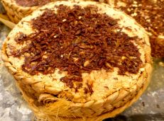 Queso topped with chapulines