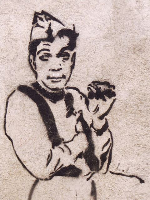 Cantinflas on a wall in Teotitlán del Valle