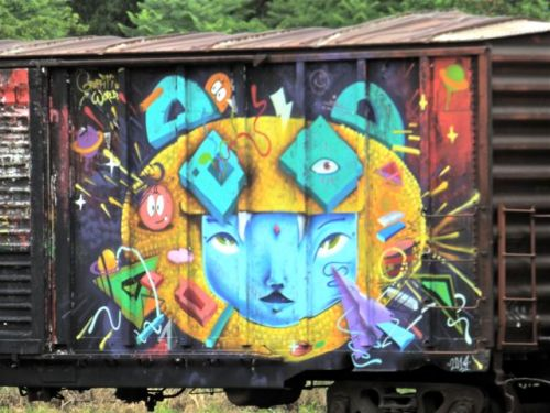 Cat face painted on railroad car