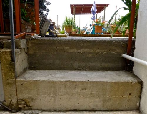 2 concrete stairs