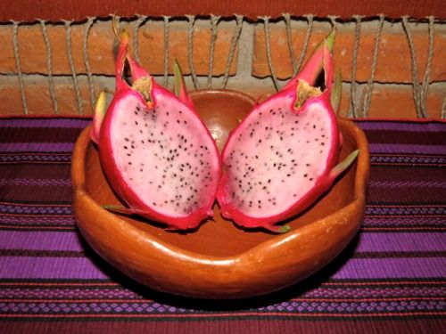 2 halves of Pitahaya fruit