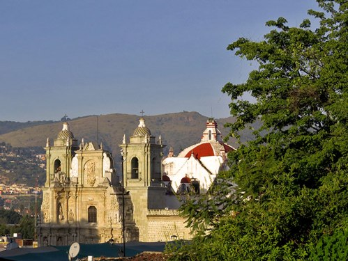 Basilica de la Soledad and blue sky
