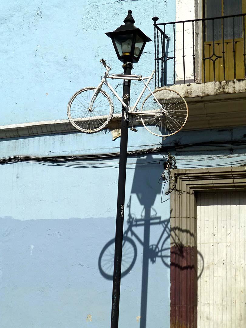 Bike near top of street light