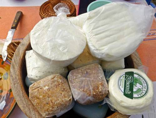 Packages of goat cheese.