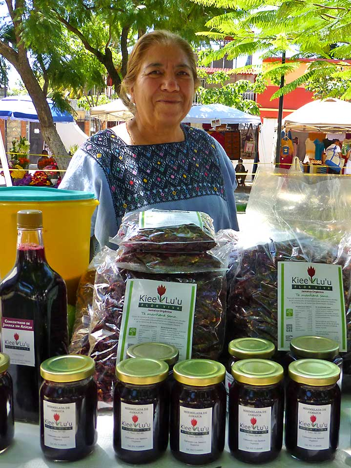 Woman selling jamaica products