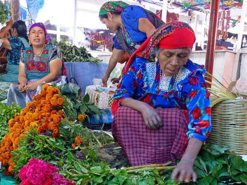 Women selling marigolds and cockscomb