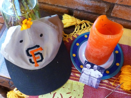 San Francisco Giants' cap and photo of my grandparents