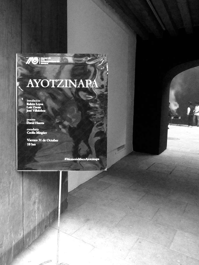 Entrance to MACO with Ayotzinapa exhibit announcement