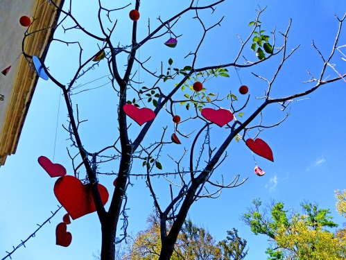 Heart decorations hanging on tree