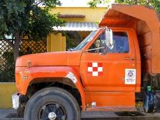 Truck on city street
