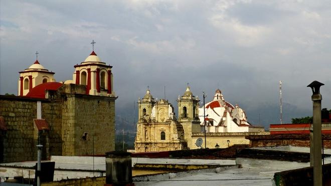 This morning's view of Templo de San José and Basilica de la Soledad.  Where did Monte Albán go?