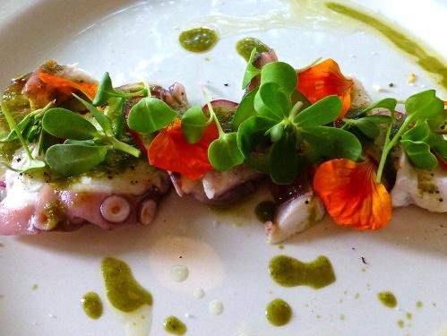 Laminado de pulpo con mojo verde, aceite de cacahuate, rábanos y cilantro (Rolled octopus with green sauce, peanut oil, radishes and cilantro)