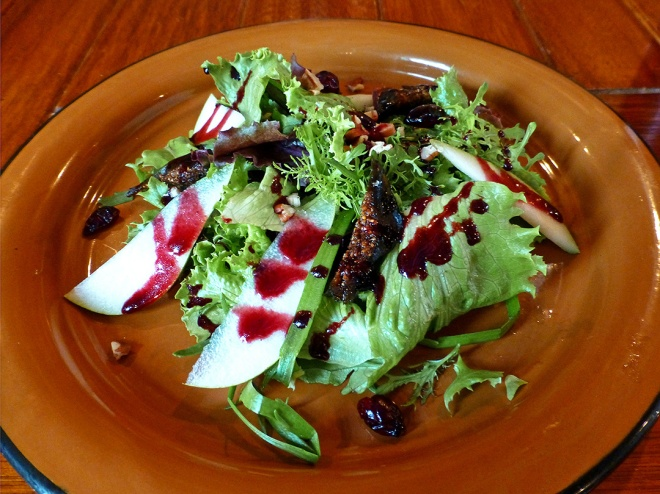 Mixed greens with apples and dried cranberries