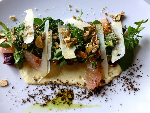 Ensalada de hongos serranos, toronja , pepitas y manzanita criolla (Wild mushroom salad, grapefruit, local apple puree and pumpkin seeds)