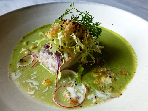 Pozole verde de pescado (Fish of the day in green pozole)