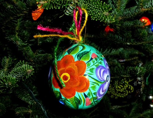 Painted gourd ornament