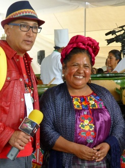 Internationally known Zapotec chef Abigail Mendoza from Teotitlán del Vallebeing interviewed.