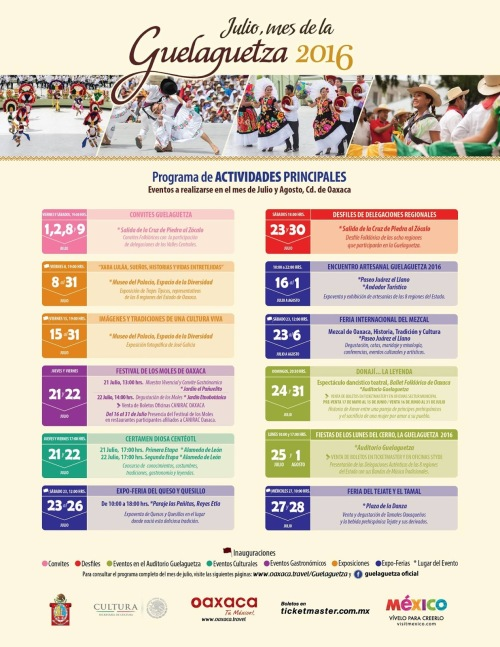 programa de actividades guelaguetza 2016