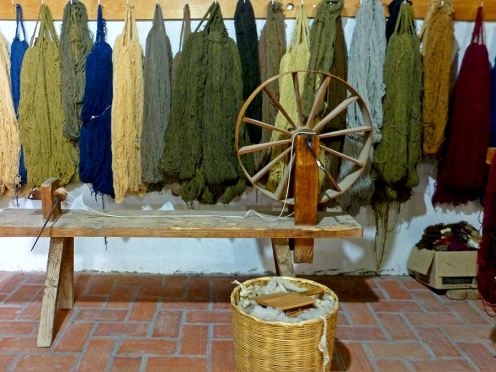 Skeins of hand-spun and naturally dyed yarn at the Porfirio Gutiérrez y Familia workshop.