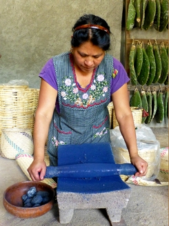 Juana Gutiérrez Contreras, grinding anil (indigo). She cleans wool, spins yarn, gathers herbs, master of natural dyes