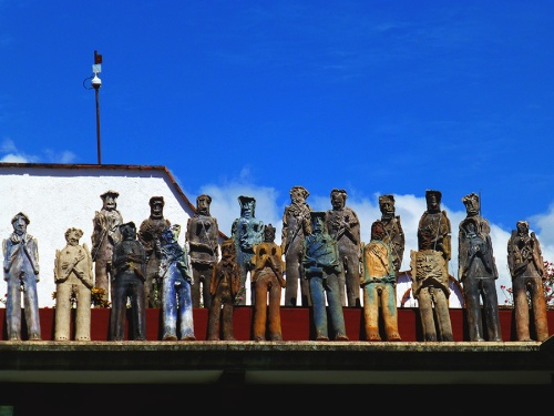 Some of the 2501 migrant sculptures by Alejandro Santiago.