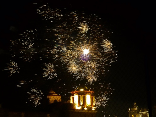 Fireworks from the Basílica de la Soledad courtyard - Dec. 15, 2016