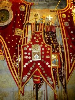 Estandartes in the Basilica awaiting another recorrido - Dec. 17, 2016