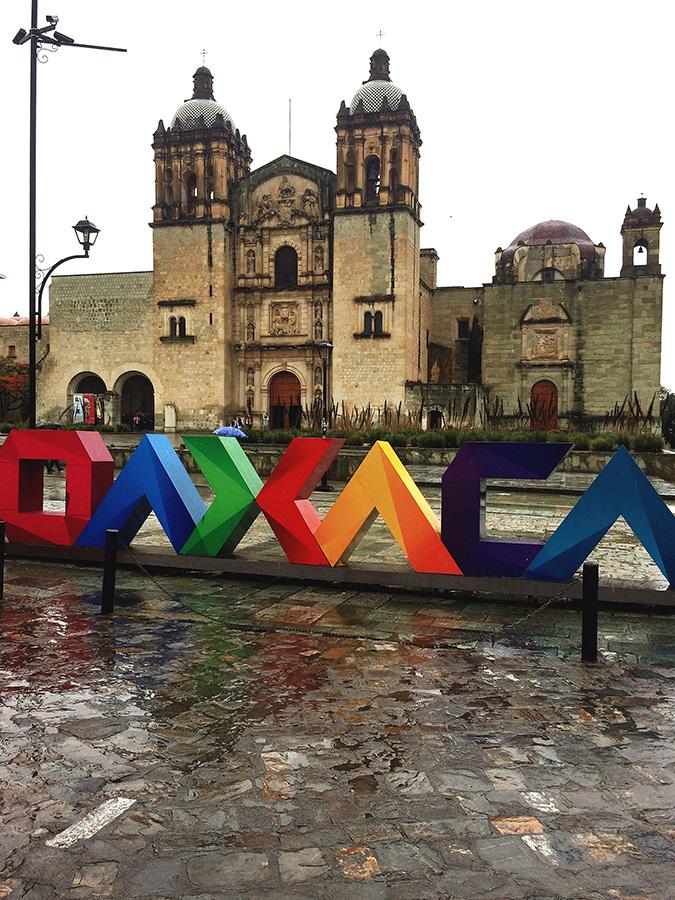 Oaxaca letters in front of Santo Domingo