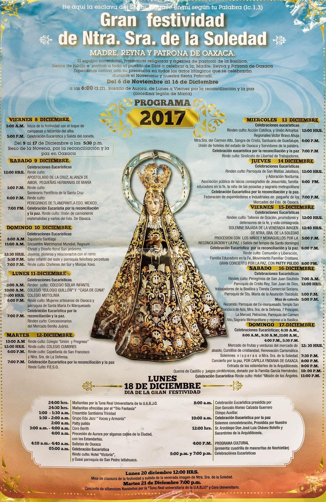virgen de la soledad programa 2017
