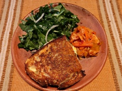 Grilled Mennonite cheese sandwich with argula and (Boulenc's) kimchi