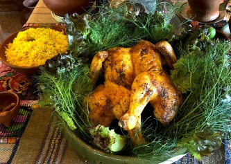 Roast chicken with saffron rice